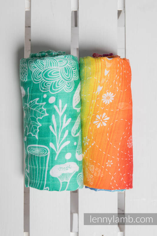 Mulldecken Set - DRAGONFLY RAINBOW, UNDER THE LEAVES #babywearing