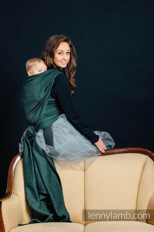 Baby Wrap, Jacquard Weave (60% cotton 28% linen 12% tussah silk) - LITTLE LOVE - IVY - size L #babywearing