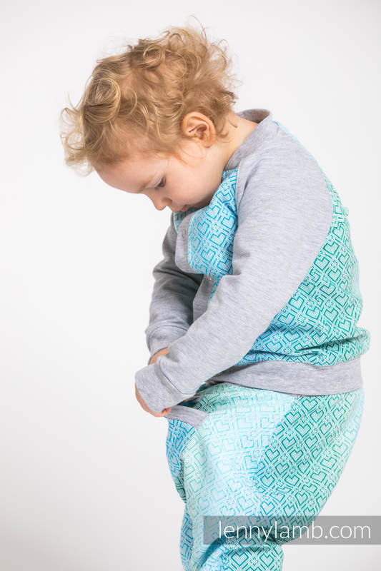 Children sweatshirt LennyBomber - size 74 - Big Love - Ice Mint & Grey #babywearing