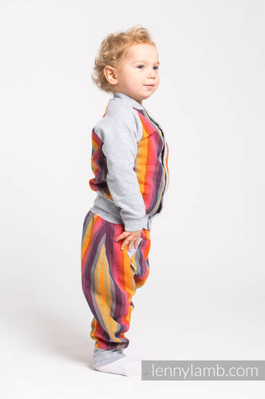 Children sweatshirt LennyBomber - size 62 - Rainbow Red Cotton & Grey #babywearing