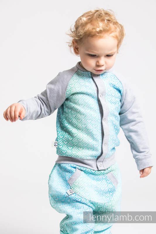 Children sweatshirt LennyBomber - size 62 - Big Love - Ice Mint & Grey  #babywearing