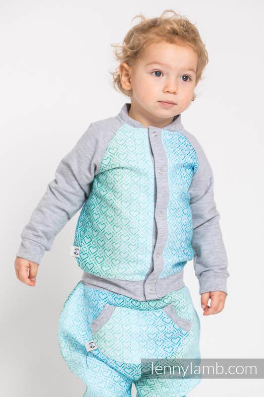 Children sweatshirt LennyBomber - size 86 - Big Love - Ice Mint & Grey #babywearing