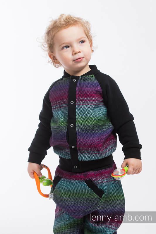 Children sweatshirt LennyBomber - size 74 - Little Herringbone Impression Dark #babywearing