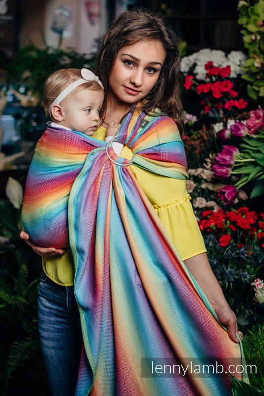 Ringsling, Herringbone Weave (82% cotton, 18% bamboo viscose) - with gathered shoulder - LITTLE HERRINGBONE RAINBOW LIGHT #babywearing