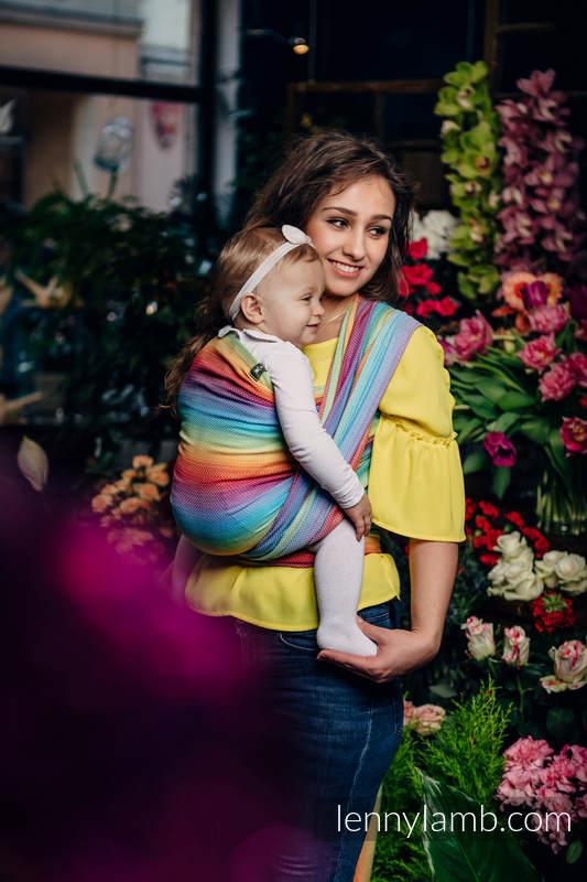 Baby Wrap, Herringbone Weave (82% cotton, 18% bamboo viscose) - LITTLE HERRINGBONE RAINBOW LIGHT - size M #babywearing