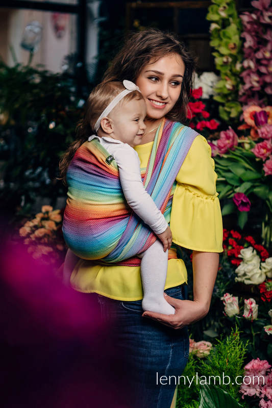 Baby Wrap, Herringbone Weave (82% cotton, 18% bamboo viscose) - LITTLE HERRINGBONE RAINBOW LIGHT - size L (grade B) #babywearing