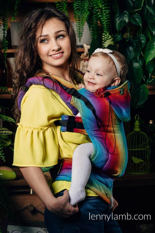 Nosidełko Ergonomiczne , splot jodełkowy, 100% bawełna , Toddler Size, MAŁA JODEŁKA TĘCZA GRANAT- Druga Generacja #babywearing