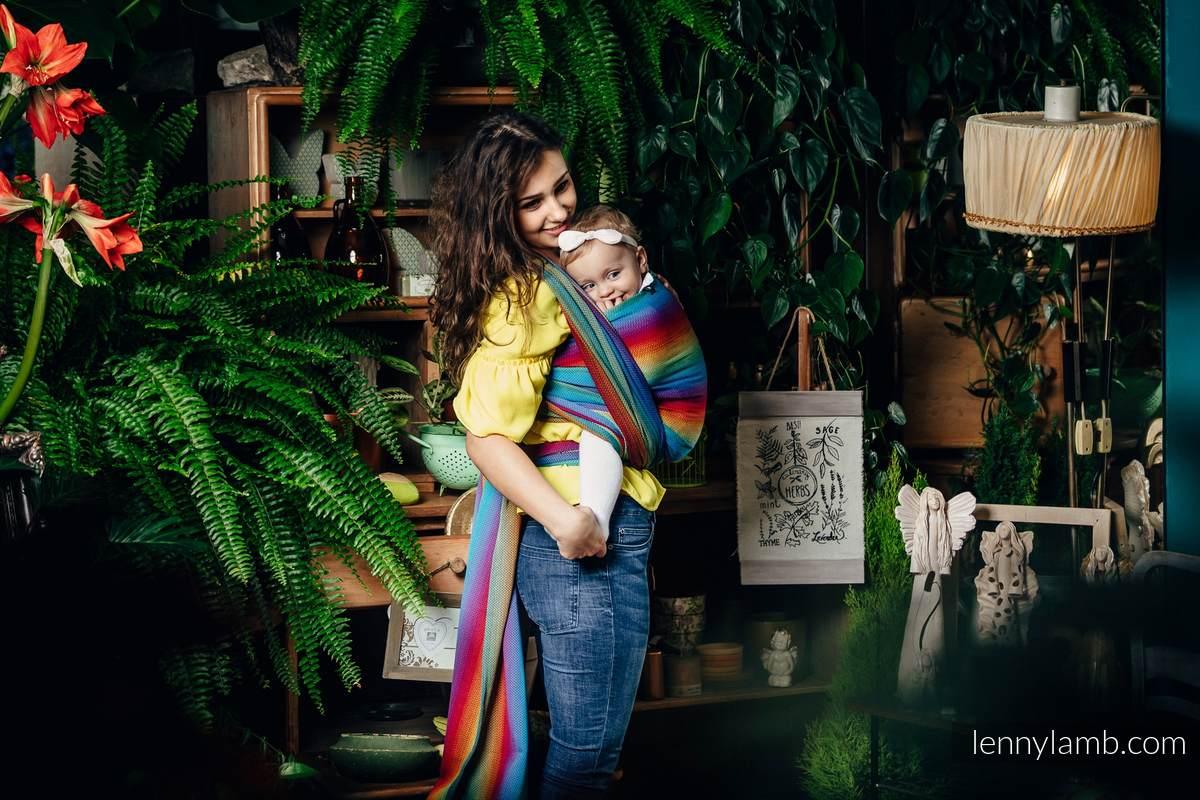 Fular, tejido Herringbone (100% algodón) - LITTLE HERRINGBONE RAINBOW NAVY BLUE - talla XS #babywearing