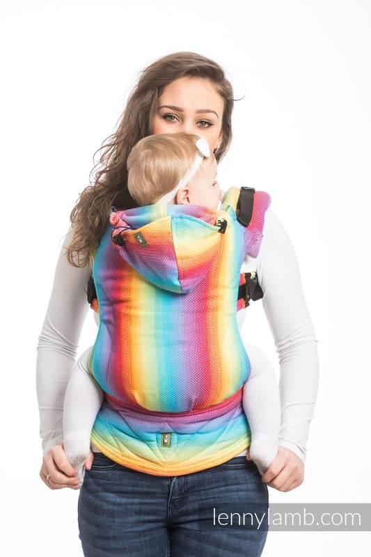 Ergonomic Carrier, Baby Size, herringbone weave 82% cotton, 18% bamboo viscose - LITTLE HERRINGBONE RAINBOW LIGHT - Second Generation #babywearing
