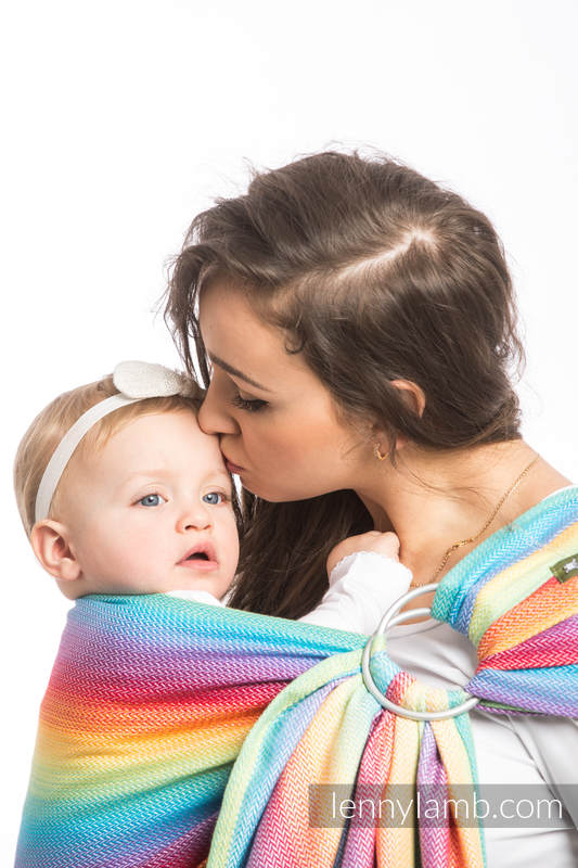 Ringsling, Herringbone Weave (82% cotton, 18% bamboo viscose) - LITTLE HERRINGBONE RAINBOW LIGHT - long 2.1m #babywearing
