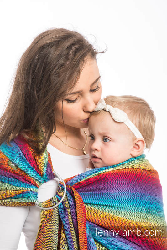 Ringsling, Herringbone Weave (100% cotton) - with gathered shoulder - LITTLE HERRINGBONE RAINBOW NAVY BLUE #babywearing