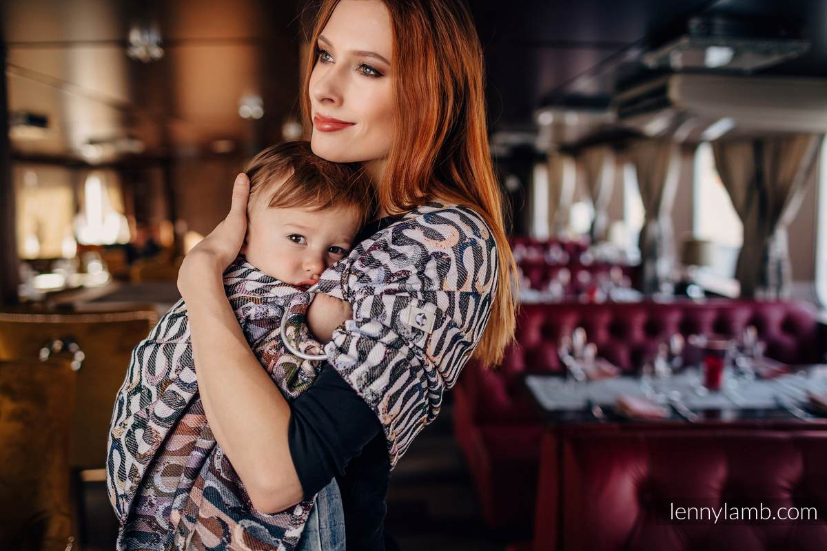 Ringsling, Jacquard Weave (33% combed cotton, 55% Merino wool, 5% mulberry silk, 7% cashmere), with gathered shoulder - EQUILIBRIUM - long 2.1m #babywearing