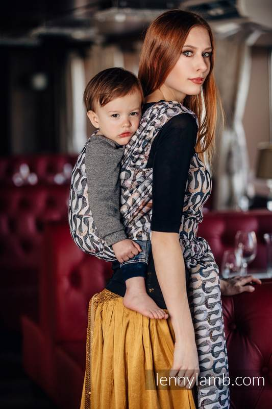 Baby Wrap, Jacquard Weave (33% combed cotton, 55% Merino wool, 5% mulberry silk, 7% cashmere) - EQUILIBRIUM - size L #babywearing