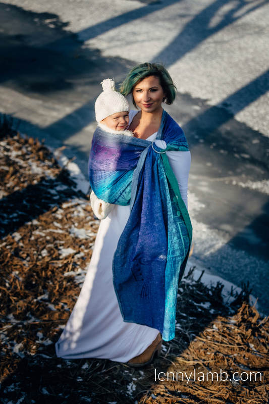 Żakardowa chusta kółkowa do noszenia dzieci, 60% bawełna , 36% wełna merino, 4% przędza metalizowana, ramię bez zakładek - SYMFONIA EUFORIA - long 2.1m #babywearing