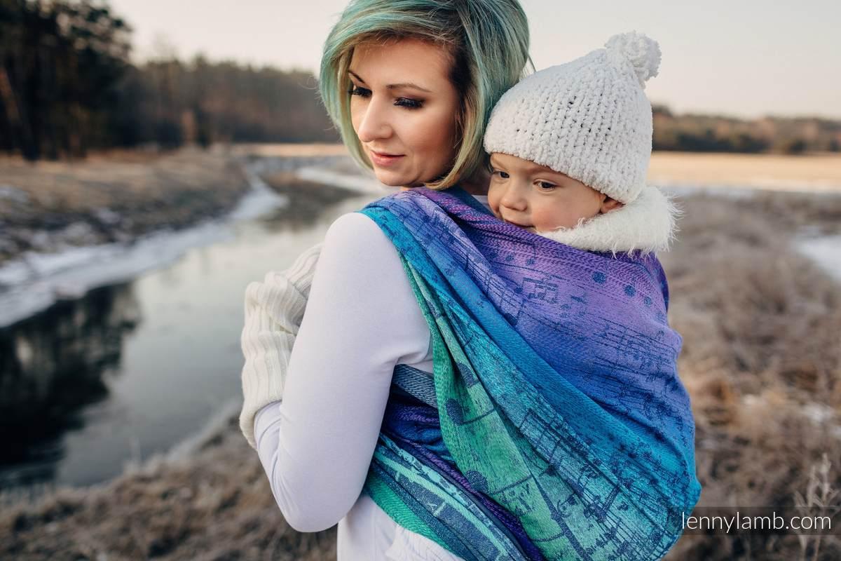 Baby Wrap, Jacquard Weave (60% cotton, 36% merino wool, 4% metallised yarn) - SYMPHONY EUPHORIA - size XL #babywearing