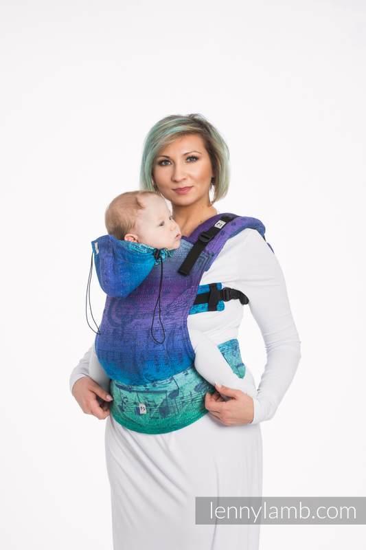 Ergonomic Carrier, Baby Size, jacquard weave 60% cotton, 36% merino wool, 4% metallised yarn - SYMPHONY EUPHORIA, Second Generation #babywearing