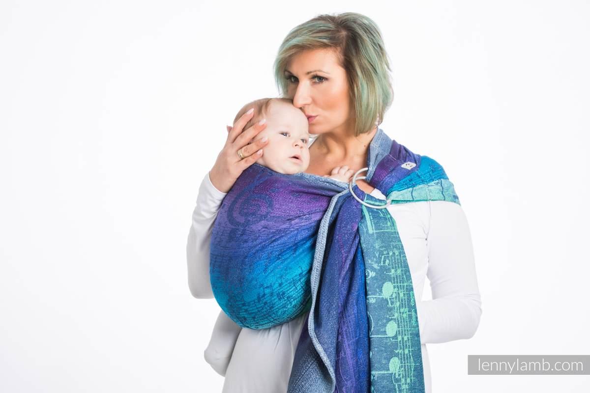 Bandolera de anillas, tejido Jacquard (60% algodón, 36% lana merino, 4% hilo metalizado) - SYMPHONY EUPHORIA - long 2.1m #babywearing