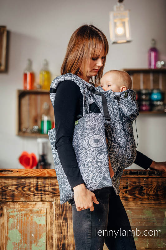Shopping bag made of wrap fabric (100% cotton) - WILD WINE GREY & WHITE  #babywearing