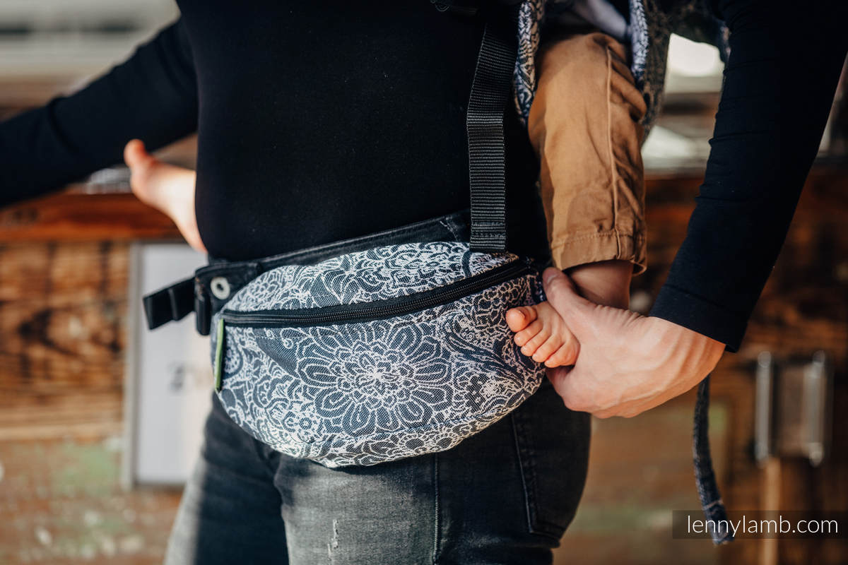 Waist Bag made of woven fabric, (100% cotton) - WILD WINE GREY & WHITE  #babywearing