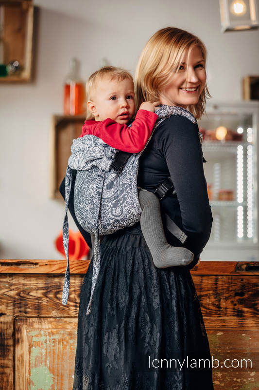 Lenny Buckle Onbuhimo baby carrier, toddler size, jacquard weave (100% cotton) - WILD WINE GREY & WHITE  #babywearing