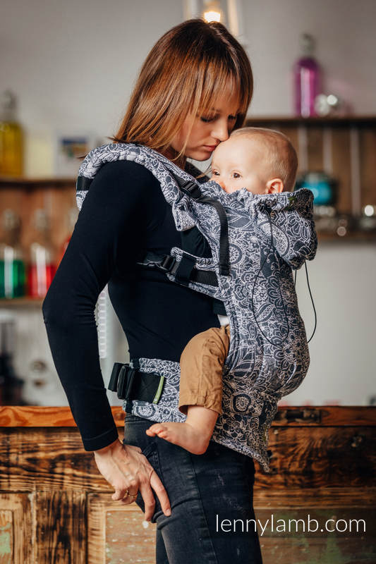 Ergonomic Carrier, Toddler Size, jacquard weave 100% cotton - wrap conversion from WILD WINE GREY & WHITE - Second Generation #babywearing