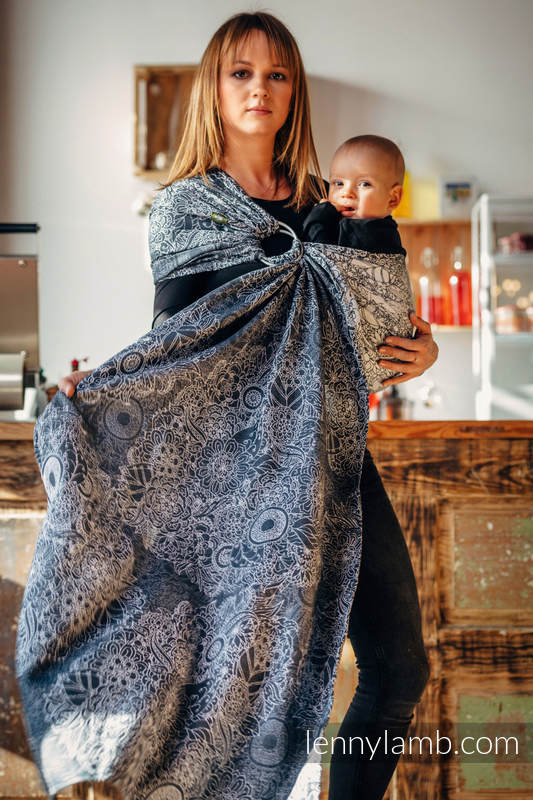 Ringsling, Jacquard Weave (100% cotton), with gathered shoulder - WILD WINE GREY & WHITE - standard 1.8m #babywearing