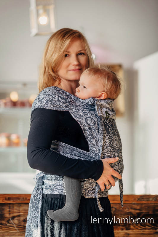 WRAP-TAI carrier Toddler with hood/ jacquard twill / 100% cotton / WILD WINE GREY & WHITE  #babywearing