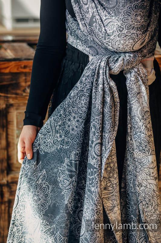Żakardowa chusta do noszenia dzieci, bawełna - DZIKIE WINO SZARY Z BIAŁYM - rozmiar S #babywearing