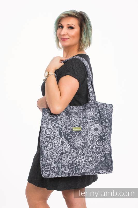 Shoulder bag made of wrap fabric (100% cotton) - WILD WINE GREY & WHITE - standard size 37cmx37cm #babywearing