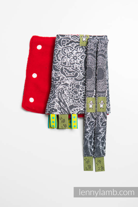 Drool Pads & Reach Straps Set, (60% cotton, 40% polyester) - WILD WINE GREY & WHITE  #babywearing