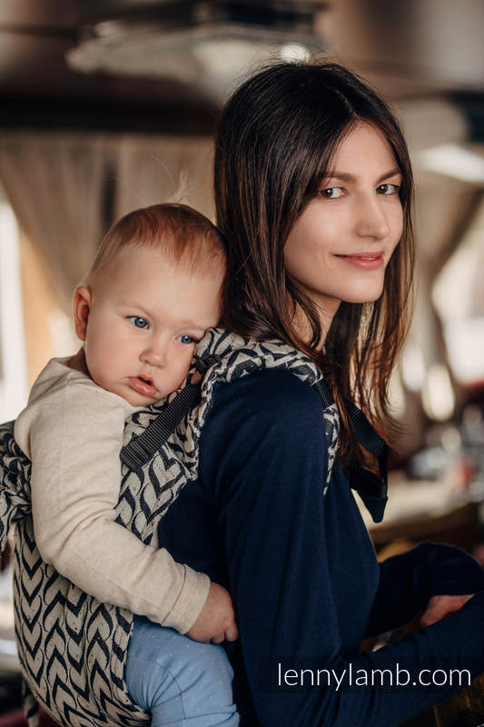 Lenny Buckle Onbuhimo, standard size, jacquard weave (44% combed cotton, 56% Merino wool) - Wrap conversion from CHAIN OF LOVE #babywearing