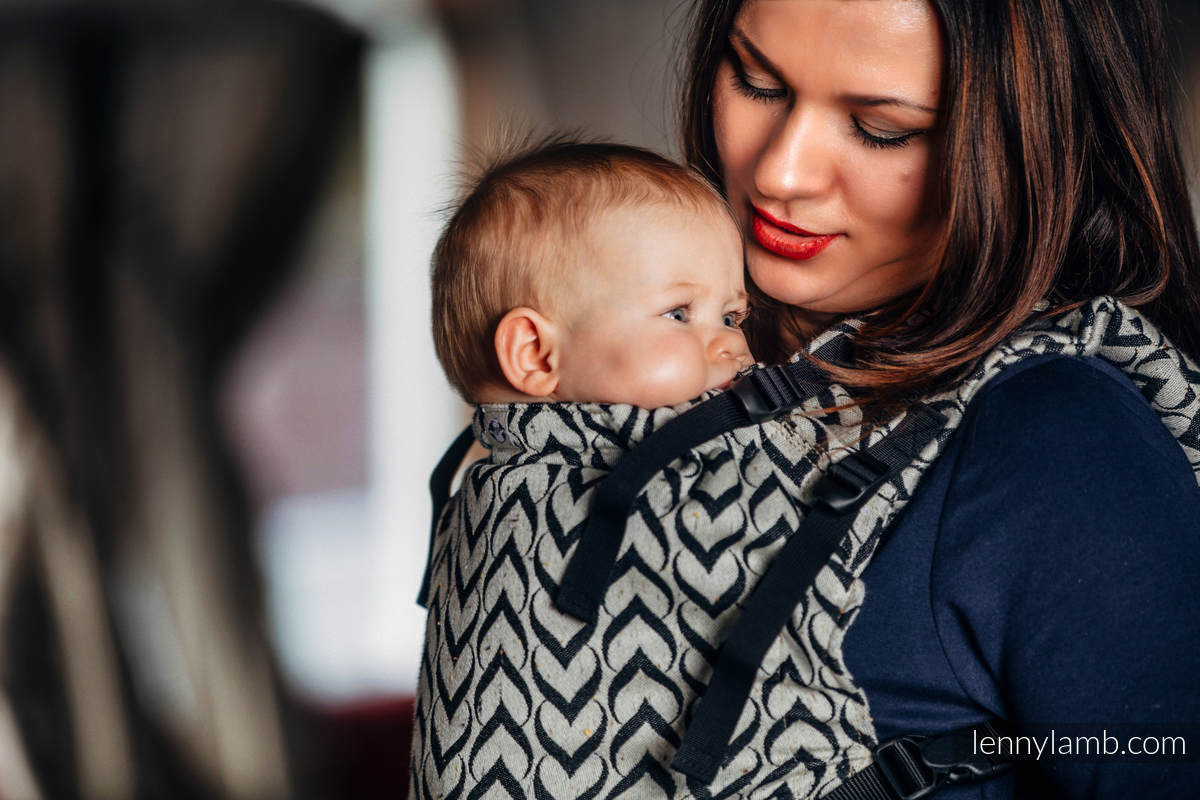 LennyUp Carrier, Standard Size, jacquard weave (44% combed cotton, 56% Merino wool) - wrap conversion from CHAIN OF LOVE #babywearing