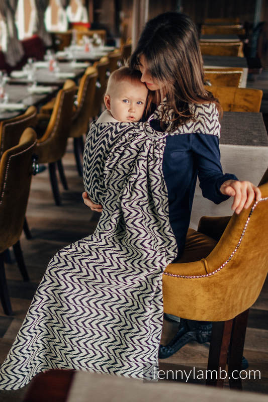 Ringsling, Jacquard Weave (44% combed cotton, 56% Merino wool) - CHAIN OF LOVE #babywearing