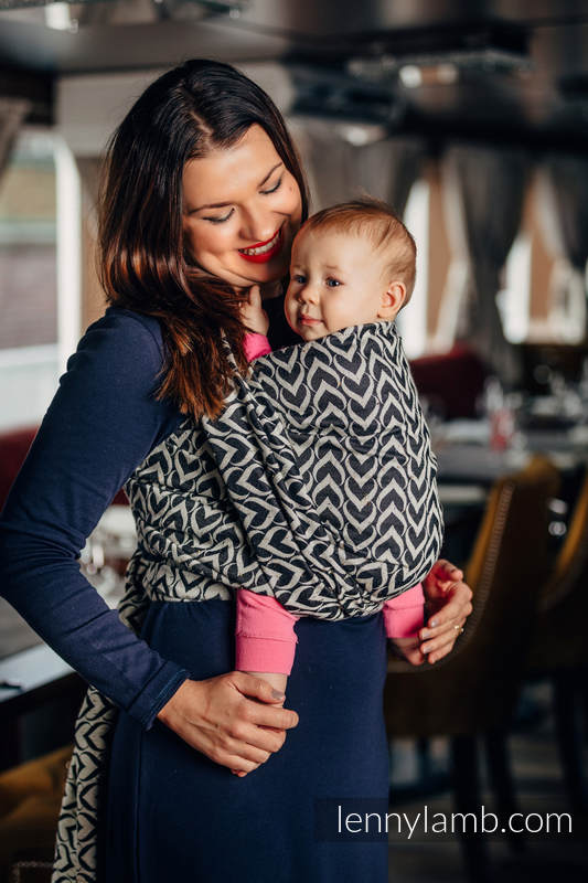 Baby Wrap, Jacquard Weave (44% combed cotton, 56% Merino wool) - CHAIN OF LOVE - size L #babywearing