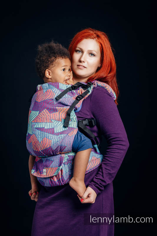 LennyUp Carrier, Standard Size, jacquard weave (27% combed cotton, 73% Merino wool) - PRISM #babywearing