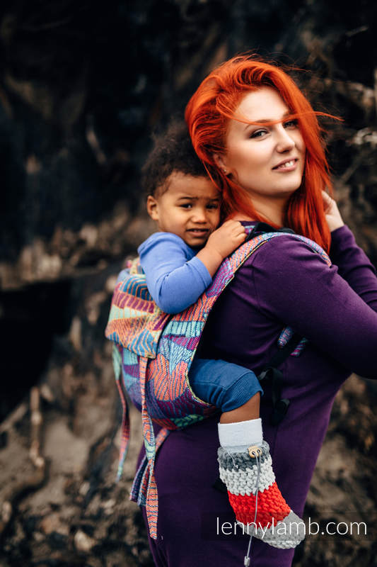 Lenny Buckle Onbuhimo baby carrier, standard size, jacquard weave (27% combed cotton, 73% Merino wool) - PRISM #babywearing
