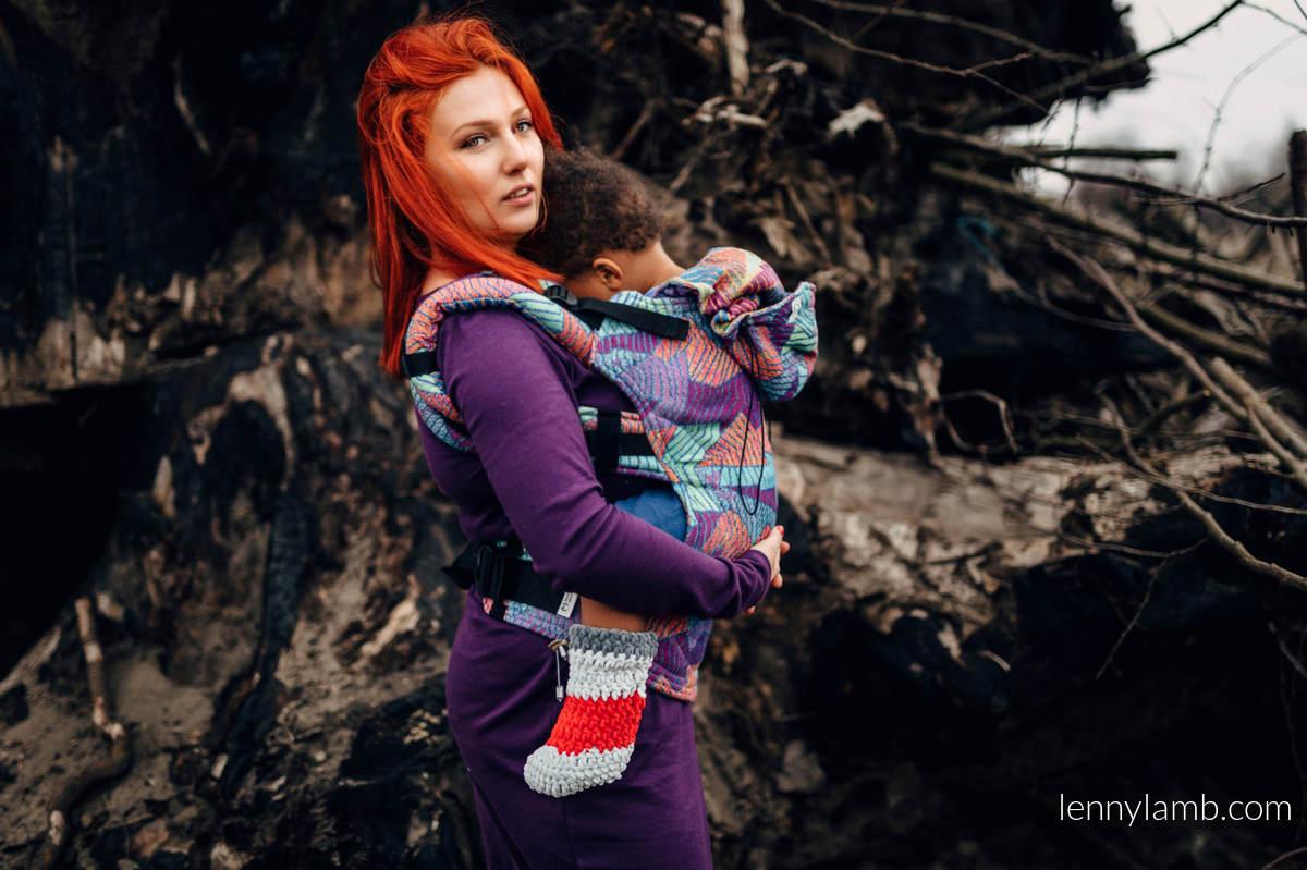 Nosidełko Ergonomiczne z tkaniny żakardowej 27% bawełna czesana, 73% wełna merino, Baby Size, PRYZMAT, Druga Generacja #babywearing