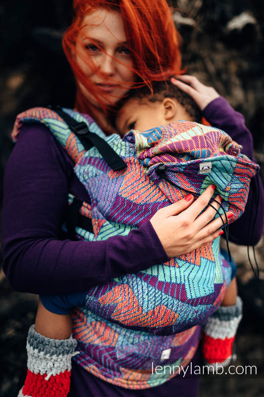 Ergonomic Carrier, Toddler Size, jacquard weave 27% combed cotton, 73% Merino wool - PRISM, Second Generation #babywearing