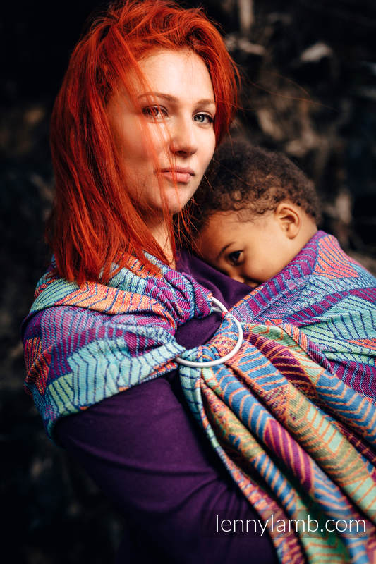 Ringsling, Jacquard Weave (27% combed cotton, 73% Merino wool), with gathered shoulder - PRISM - long 2.1m #babywearing