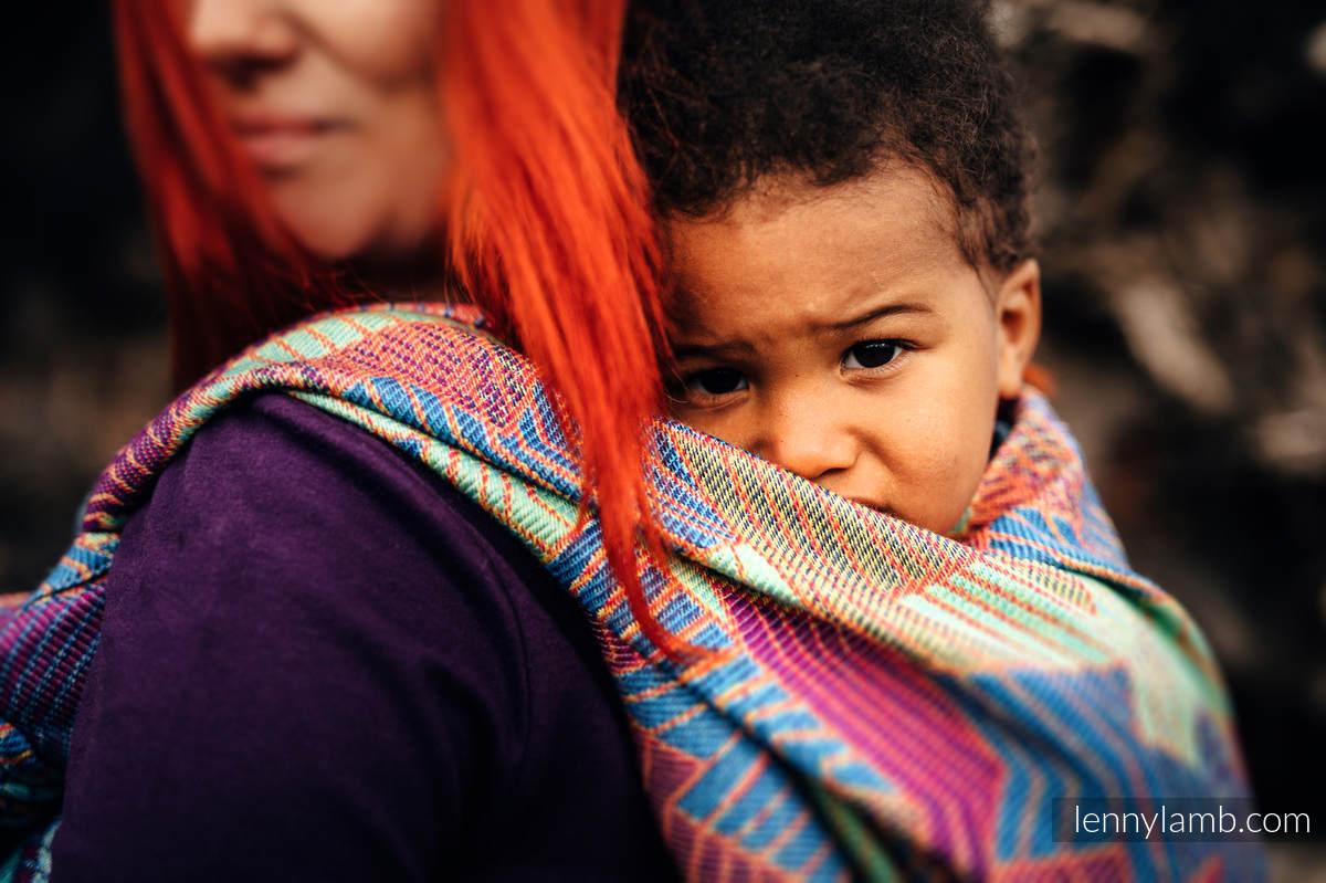 Baby Wrap, Jacquard Weave (27% combed cotton, 73% Merino wool) - PRISM - size XS #babywearing