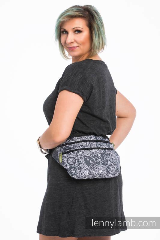 Waist Bag made of woven fabric, size large (100% cotton) - WILD WINE GREY & WHITE  #babywearing
