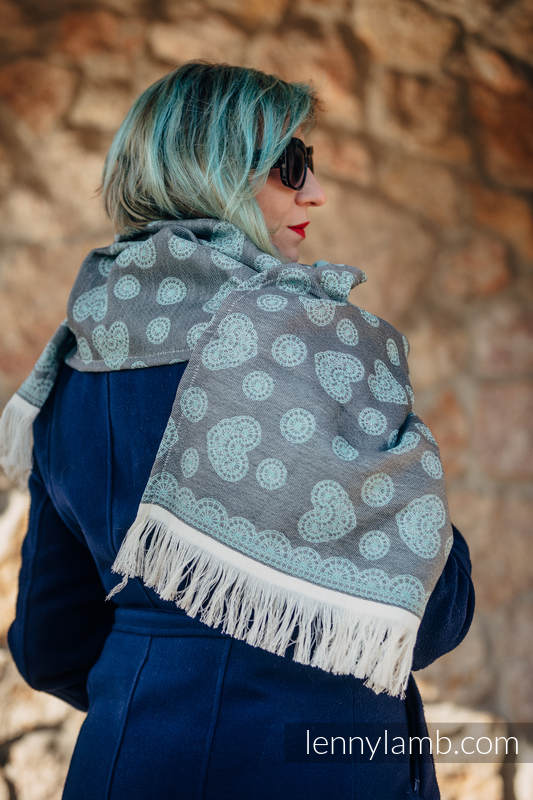 LennyScarf - 42% cotton, 58 % silk - Lace Grey & Mint #babywearing