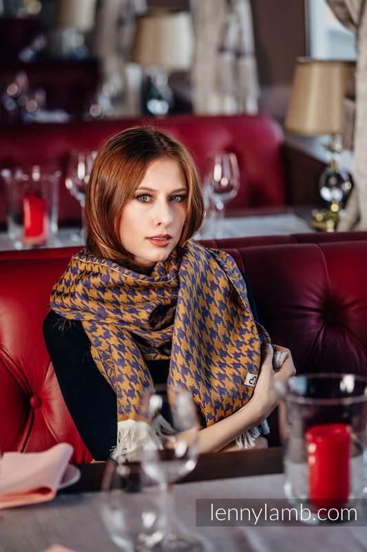 LennyScarf - 42% cotton, 49 % merino wool, 9 % cashmere - Pepitka Violet & Mustard #babywearing