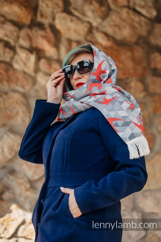 LennyScarf - 42% cotton, 34 % merino wool,  9 % silk, 15% cashmere - Swallows Grey & Red #babywearing