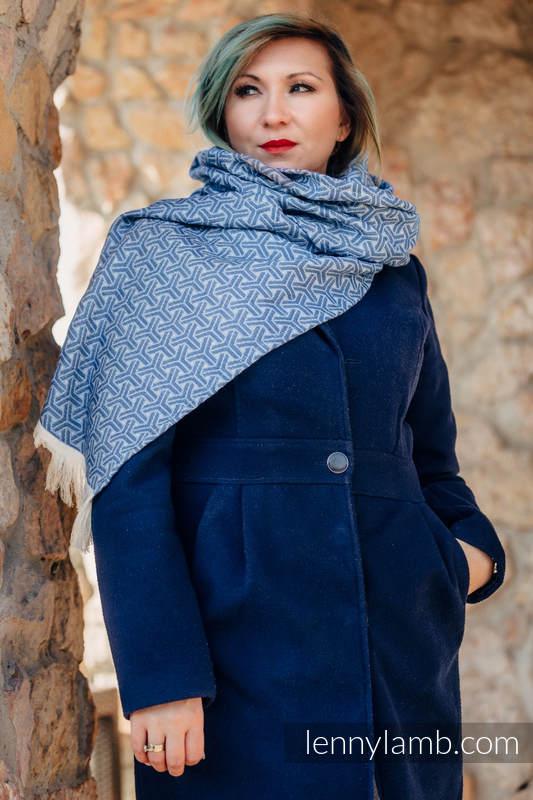 LennyScarf - 42% bawełna, 38 % jedwab, 10 % wełna merino, 10% kaszmir - Trinity Niebieski z Granatem #babywearing
