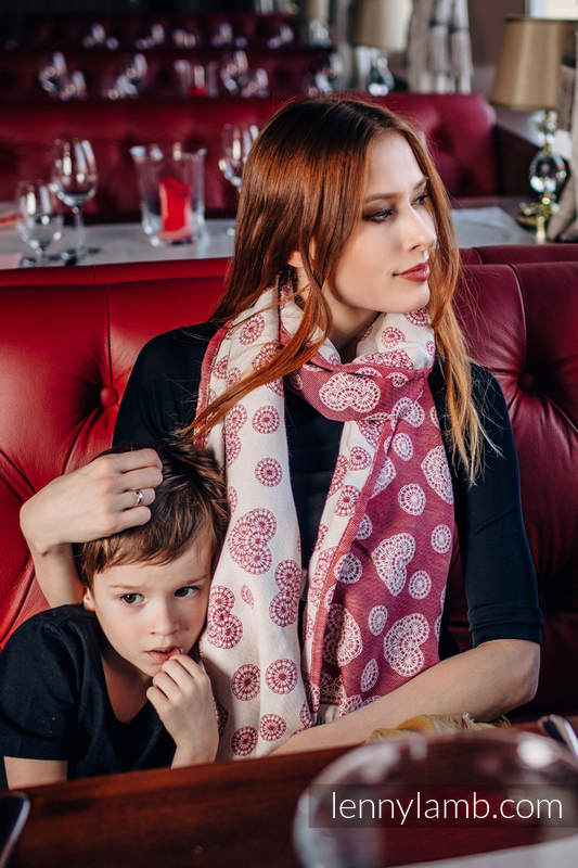 LennyScarf - 46% cotton, 31 % silk, 23 % bamboo viscose - Lace Cream & Red (grade B) #babywearing