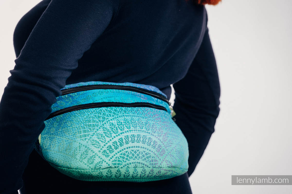 Waist Bag made of woven fabric, size large (100% cotton) - PEACOCK'S TAIL - FANTASY #babywearing