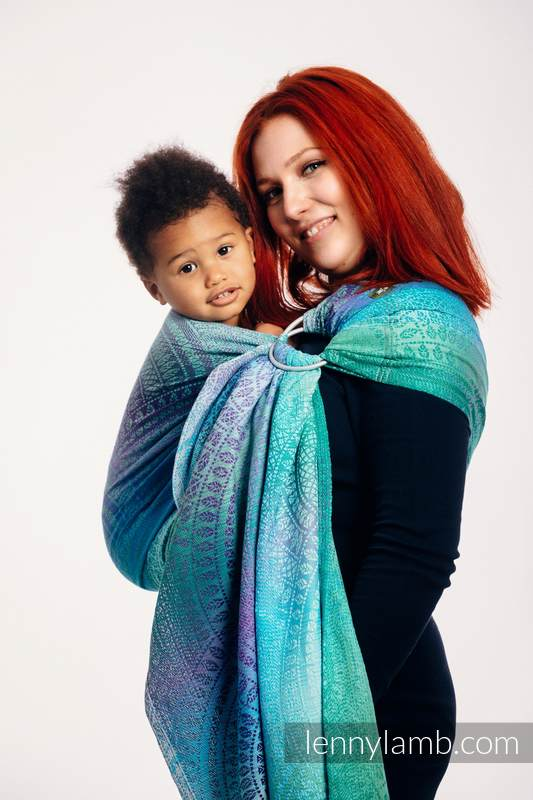 Ringsling, Jacquard Weave (100% cotton), with gathered shoulder - PEACOCK'S TAIL - FANTASY - standard 1.8m #babywearing