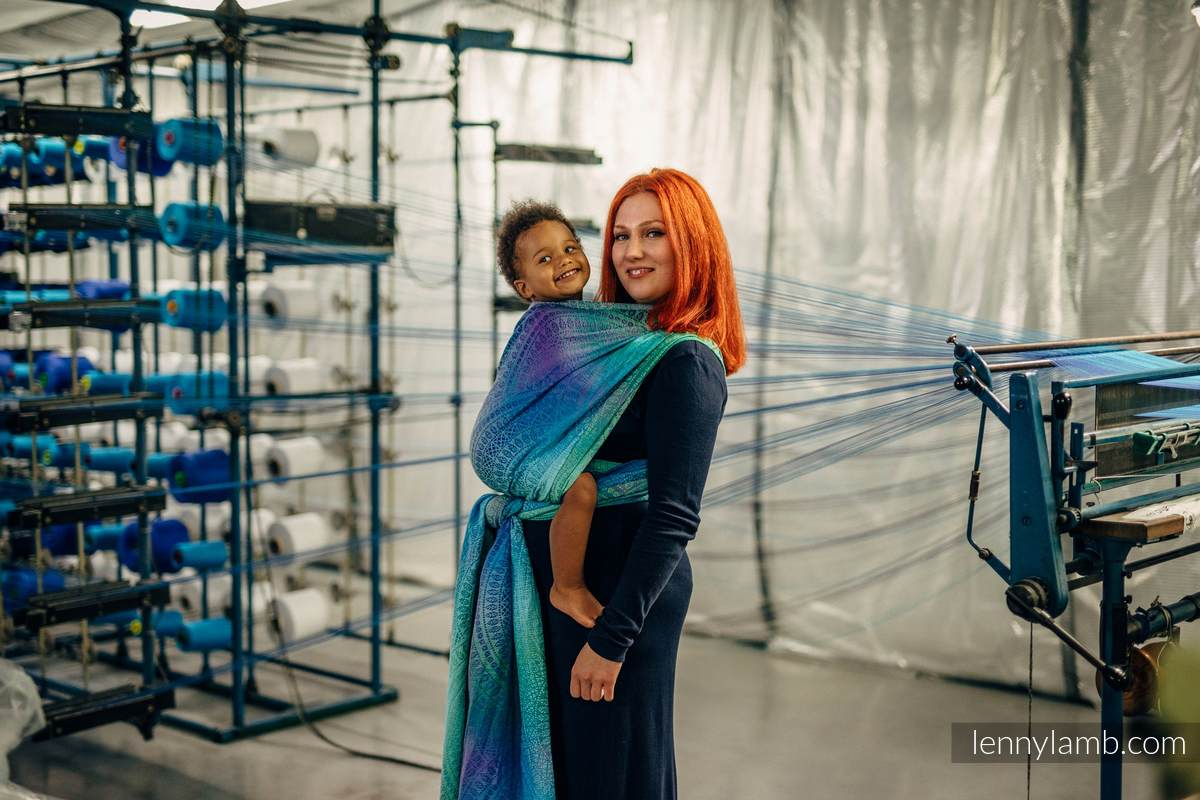 Tragetuch, Jacquardwebung (100% Baumwolle) - PEACOCK'S TAIL - FANTASY - Größe XL #babywearing
