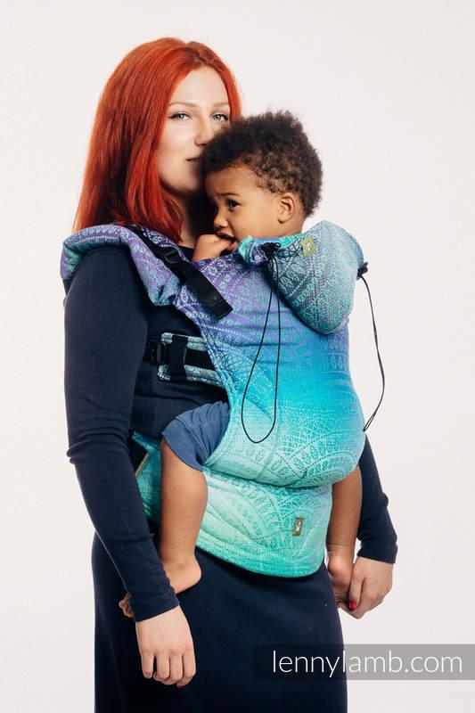 Nosidełko Ergonomiczne z tkaniny żakardowej 100% bawełna , Toddler Size, PAWI OGON - FANTAZJA - Druga Generacja #babywearing